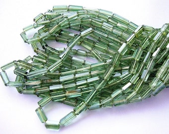 """BEAUTIFUL Best Gem Green Tourmaline Faceted Crystal Tiny 3.5-4.5mm Brick Tube Beads Delicate Pipe 7"""" strand"""