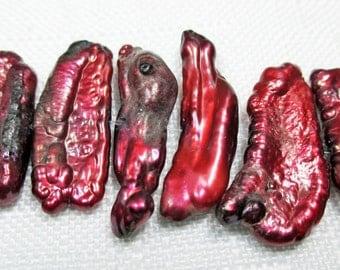 Freshwater Biwa Stick Pearls in Dark Red Tones, (6 sticks), LOT 878