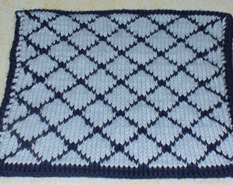 Blue Blocks Hot Pad - hand-knitted