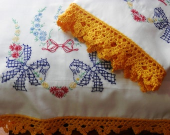 Red, Blue Bows, Cotton Sateen Handmade Pillowcases, Yellow Crocheted Edging