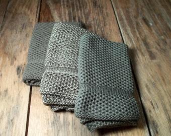 Knit Cotton Dishcloths/Washcloths in Shamrock and Pewter, Dishcloth, Washcloth