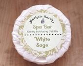 White Sage Spa Bar. Made with Salt. Handmade Soap. All Natural. Spa Bar. Exfoliating.