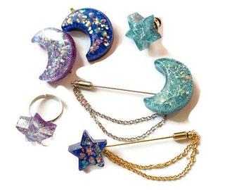 Resin brooch, moon pendant, star brooch, glitter jewelry, kawaii jewelry, fairy kei, sweet lolita, lolita accessory, constellation, sky