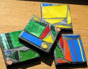 Bright Primary Colors Recycled Mosaic Coasters (Set of 4)
