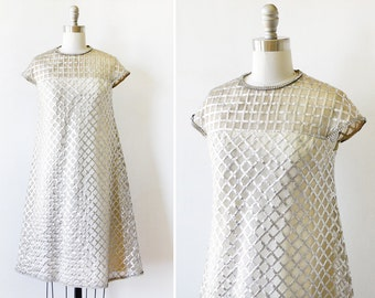 60s silver mod dress, vintage 1960s metallic dress, space age shift dress, small medium