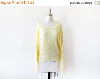 5O% OFF SALE yellow sweater, vintage yellow pointelle sweater, large 80s slouchy sweater
