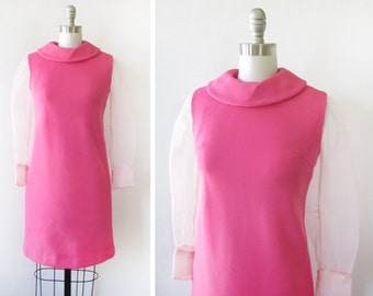 pink mod dress, vintage 60s mod scooter dress with sheer sleeves, small mod dress
