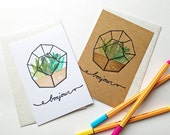 bonjour hand printed card. cactus succulent terrarium greeing card. thinking of you. birthday thank you. garden illustration. choose option