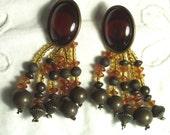 Vintage Jewelry Amber & Bronze Beaded Dangle Earrings Pierced Style