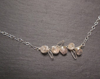 Silver Necklace Leaves and Flower Buds sterling silver