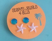 Beach Vacation Set Turquoise Iridescent Mermaid Sparkle Circle and Pearl Pink Starfish Earrings