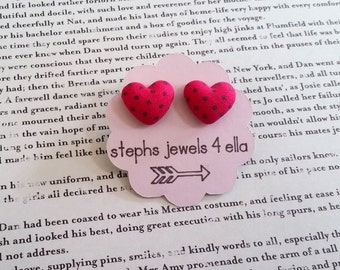 Pink Hearts with Green Polka Dots Fabric-Covered Button Earrings