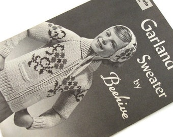 Vintage Beehive no 46 Garland Sweater Knitting Pattern Zip Front Jacket Sizes 8-10-12