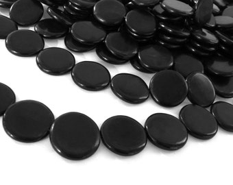 10 Coin black horn beads 20mm - eco friendly and natural horn beads (PN406B)