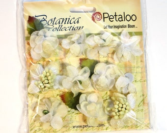 Petaloo Botanica Collection Mini White - silk flowers - mulberry flowers - card flowers - card embellishments - scrapbook flowers