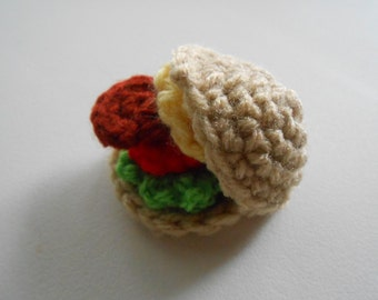 Crochet Mini Cheeseburger Play Food