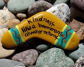 Hand painted Idaho River Rock-Acrylic Original-Boomerang- Kindness