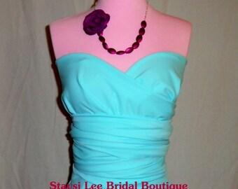 Aqua Blue Bridesmaids Infinity Convertible Wrap Dress...37 Colors...Beach Wedding, Bridal Party Dress, Destination Wedding, Bridal Shower
