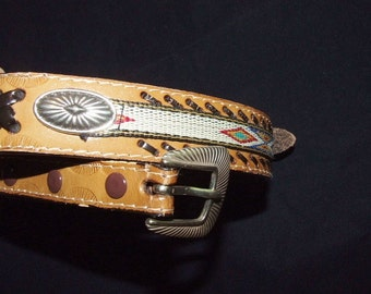 Tooled Whip-Stitch Leather Southwestern Motif Women's Concho Western Cowgirl Belt   0831