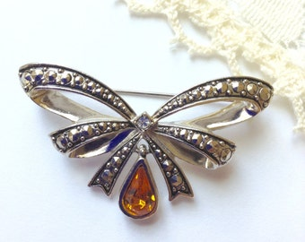 Vintage Signed Avon Marcasite Ribbon Bow Pin Brooch