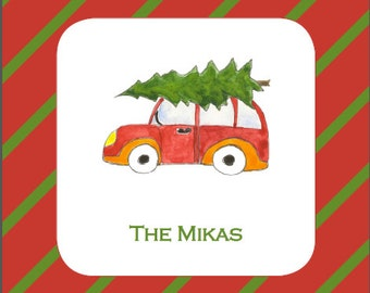 Personalized Coasters with Holiday Car & Tree ( 1 set of 20)