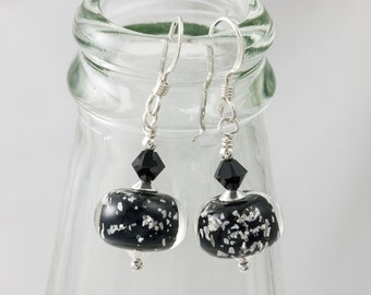 Black Sparkly Lampwork Earrings