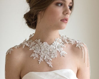 Lace Shoulder Jewelry, Bridal Lace Bib Necklace, Wedding Rhinestone Statement Necklace, Rhinestone Shoulder Necklace