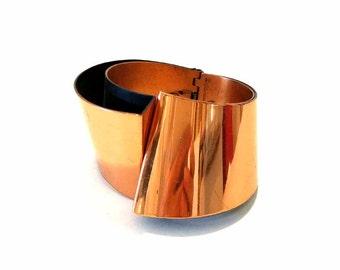 Hinged Renoir Copper Cuff Bracelet Yin/Yang Cuff Bracelet