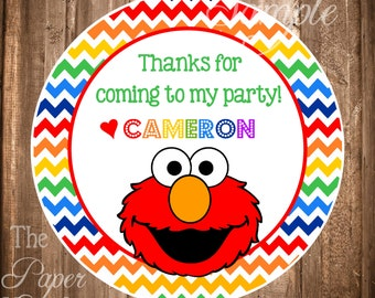 Elmo Gift Tags or Stickers, PRINTABLE Elmo Favor Tags, Elmo Birthday Party, Digital Elmo Gift Tags