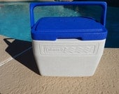 Vintage Coleman Cooler White With Blue Top