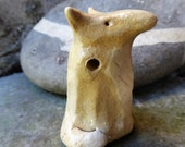 Artisan made ceramic pendant - Seal pendant - The fox and the Hen