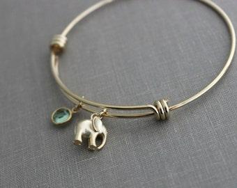 Gold elephant bracelet, gold plated adjustable bangle bracelet with elephant charm, Swarovski crystal birthstone, Outdoor girl jewelry