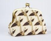 Metal frame clutch bag - Paper cranes in grey and gold - Travel purse / Japanese fabric / Ellen Luckett Baker / Minimalist geometric modern