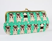 Eyeglass frame purse - Cute pugs on green - Long purse / Eyeglass case / Cell phone holder / Kawaii japanese fabric / Black and white dogs