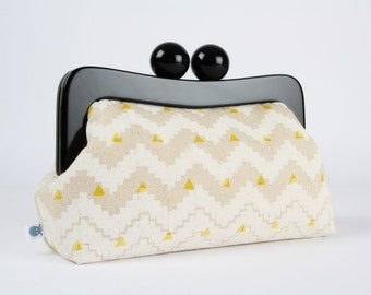 Resin frame clutch bag - Aztec chevron in white - Awesome purse / Black frame / Japanese fabric / Tribal minimalist print / yellow triangles
