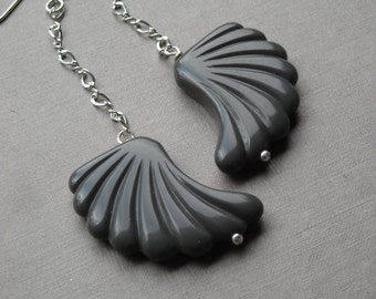 take wing earrings - vintage lucite and sterling silver