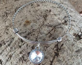 April Birthstone Bracelet - April Birthstone Jewelry - April Birthstone Bangle Bracelet - Crystal Birthstone Jewelry - Crystal Bracelet
