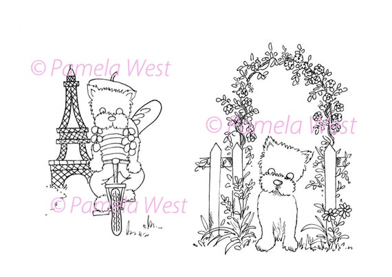 French westie and westie by the archway 2 digistamps instant for Westie coloring pages