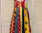 Yellow, Black, and Red Chicken Sundress in size 4