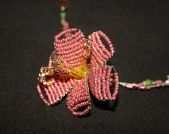 """20"""" Hand Woven Flower and Swarovski Crystal Necklace"""