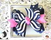 NEW---Mini Boutique Doubled Layered Hair Bow Clip---Fancy Navy and Hot Pink---