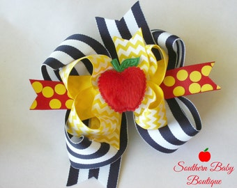 NEW---Big Boutique Triple Layered Hair Bow Clip---TEACHER'S PET---Back to School Bow