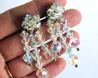 Vintage Faceted Cut Crystal Dangly Clip-On Earrings - Fiery Rainbow Clear Crystals -  Fancy Glass Beads - Great for a Bride - Iridescent
