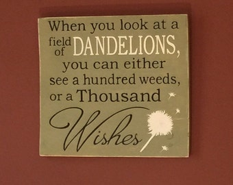 Wishes - Dandelion Wishes - Home Decor - Dandelion - Primitive Sign - Wish - Meaningful Quote - Christmas gift idea - Holiday gift idea
