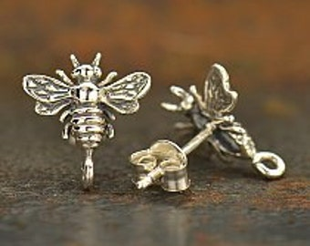 Sterling Silver Bumble Bee Post Earrings with loop, 925 Silver,  12.5mmx 11mm x 2.5mm thick,