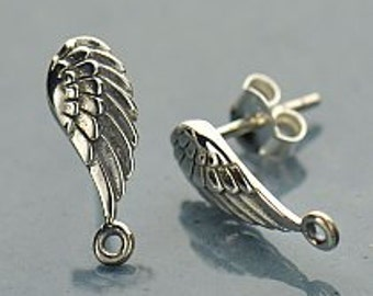 Sterling Silver Wing Post Earrings with loop, 925 Silver Feather Earring,  15.5mmx 5.5mm x 1.5mm thick,