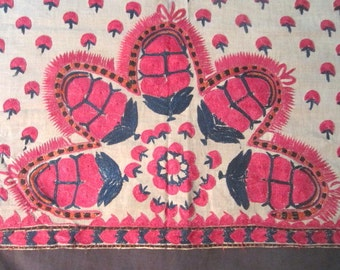 Antique Exquisite c1900 Fine Linen Arts & Crafts Embroidery Tablecloth with Raspberry Red Stylized Pinecones Design