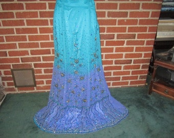 Vintage 1980s Glitzy Colorful Beaded Sequined Silk Maxi Skirt