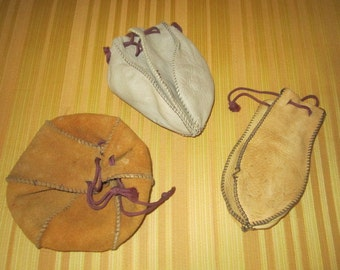 Vintage Lot of 3 Leather Pouch Marbles Bags