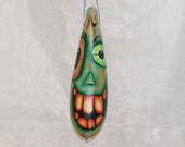 Halloween Gourd Ornament, Haunted Halloween Banana Gourd Ornament  (244)